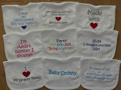 Personalised Baby Bib Embroidered Birth ANY WORDING Baby Shower Wedding Toddler