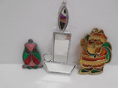 Christmas Tree Ornaments Stained Glass Santa Claus Owl and mirror Candle