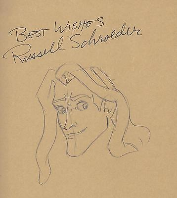 Russell Schroeder Hand Drawn Tarzan Illustration In Signed Disney's Tarzan Book