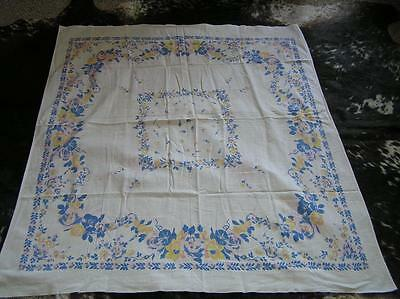 "Vintage Cotton 1940's Tablecloth Blue Morning Glory FLOWERS 44"" x 50.5"""