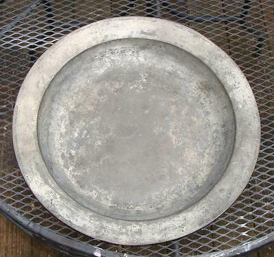 """Huge Antique English Pewter Deep Dish Charger, Worn Marks, 18"""" Dia."""