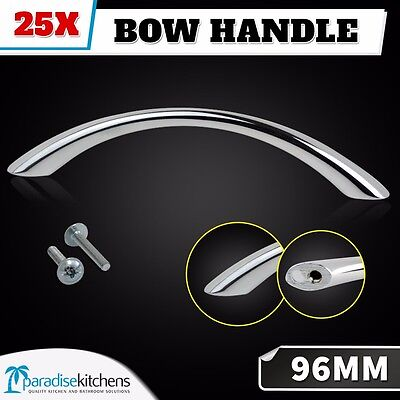 25x polished chrome bow handles 96mm, kitchen cabinet door