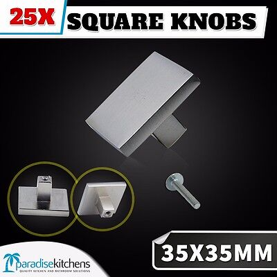 25x 35x35 brushed stainless steel look square knobs cabinet handles kitchen door