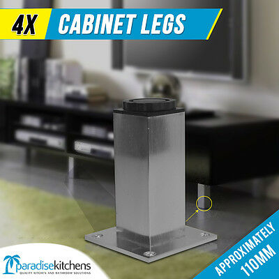 4x Aluminium Cabinet Legs for vanity unit, couch, cabinets, square