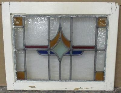 "OLD ENGLISH LEADED STAINED GLASS WINDOW Very Pretty Geometric 21"" x 16.75"""