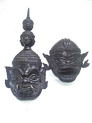 PAIR of ORNATE BRONZE FIERCE FACED ASIAN MASK WALL HANGINGS - JAPANESE / CHINESE