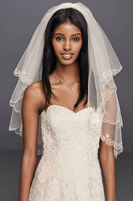NWT White Davids 689 Bridal Fingertip Length Veil 2 Tier Scallop Beaded David's