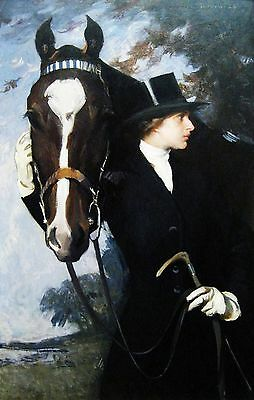 Vintage Painting Print On Canvas Horse Equestrian LOVELY Ready to Hang Rich