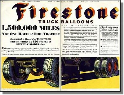1931 Firestone Balloon Truck Tires - 2-page Print Ad