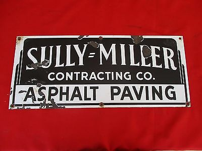 RARE Vintage SULLY MILLER CONTRACTING Porcelain Sign Southern California (1097)