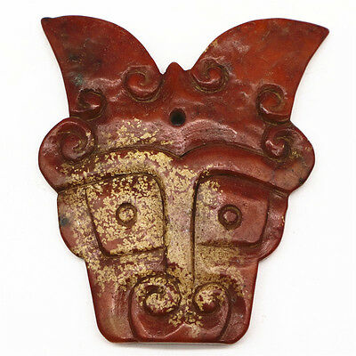 Old chinese hongshan culture manual jade carved exquisite mask statue F222