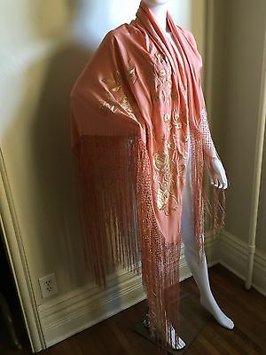 Antique Peach Silk Piano Scarf Shawl Embroidered Flowers Floral Flapper 1920s
