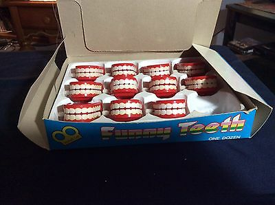 Vintage Store Display Box Of 11 Wind Up Funny Jumping Teeth