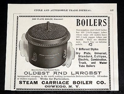 1902 Old Magazine Print Ad, Steam Carriage Boiler Co, 7 Different Style Boilers!
