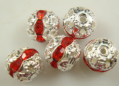 8mm 5pcs Czech ruby Crystal Rhinestone Silver Rondelle Spacer Beads 1Dr