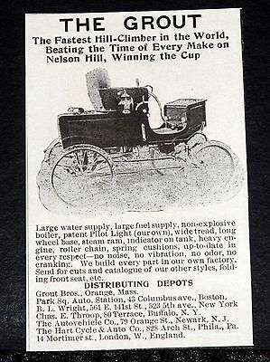 1902 Old Magazine Print Ad, The Grout, The Fastest Hill Climber In The World!