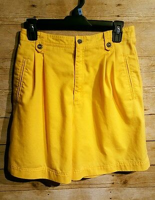 VTG 80's Liz Claiborne Sport Yellow High Waisted Pleated Short Cotton Size 10