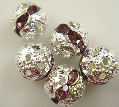 8mm 5pcs Czech champagne Crystal Rhinestone Silver Rondelle Spacer Beads 1kfg