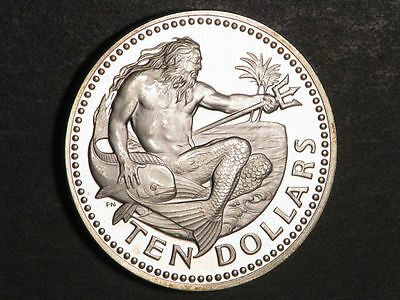 BARBADOS 1973 $10 Neptune Silver Crown Choice Proof