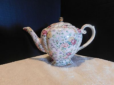 Rare Arthur Wood  Tea Pot # 6783 Chintz Pink Red Yellow Ex Cond