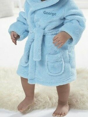 Personalised Blue Super Soft Embroidered Baby Dressing Gown Bath Robe Teddy EARS