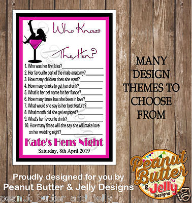 """Personalised Hens Night Game """"Who Knows The Hen?"""" x10"""