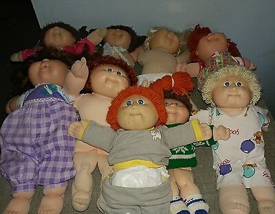 Vintage Cabbage Patch Kids Dolls/clothes/diapers lot Lot of 9 dolls some rare