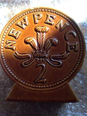 P & K Porcelain 2 New Pence Money Box