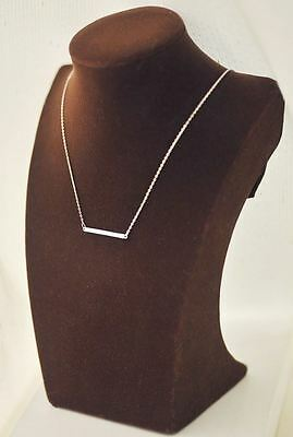 Silver Plated Horizontal Bar / Column Pendant Necklace