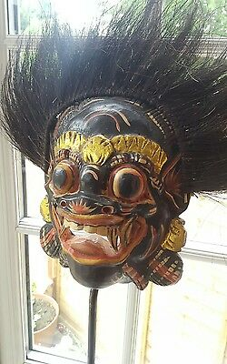 Vintage Hand Carved Painted Balinese Indonesian Wooden Wall Mask