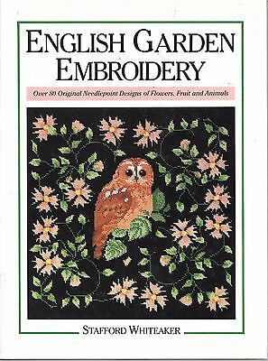 Vintage c.1986 English garden embroidery needlepoint flowers fruit animals book