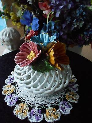 """vintage CAPODIMONTE lidded dish braided flowers handle lid 6.5"""" tall x 6.5"""" rd."""