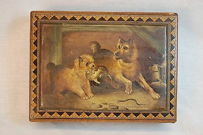 Mid 19th Century Painted & Inlaid Wooden Box w/ Dogs Catching Mice!