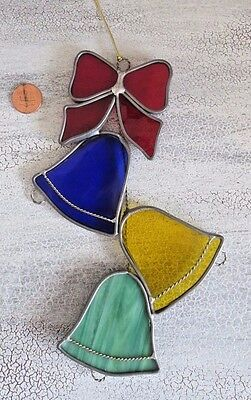 Vintage Large Leaded Stained Glass Christmas Bells & Bow Suncatcher / Ornament