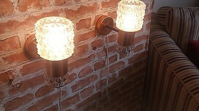 60s 70s copper wall lights mid centuary