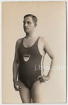 Beefcake SWIMMER IN SWIMSUIT / SCHWIMMER * Vintage 1920s Photo PC GAY INT