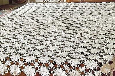 """White Crochet Lace Tablecloth Handmade Cotton Vintage Lovely 62x50"""""""