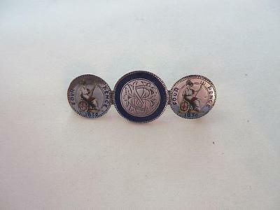 England, 3 Enameled Silver Coin Brooch 1836 William IV - Victoria, Free USA Ship