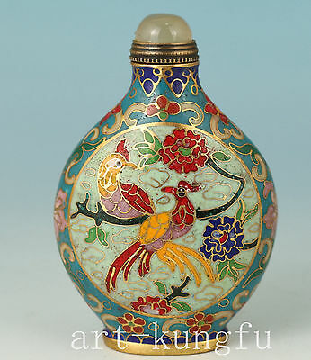 Chinese Old Cloisonne Handmade Carved Phoenix Statue Snuff Bottle