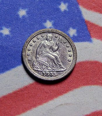 1845 Seated Liberty Half Dime Bright Uncirculated Mint State Gem
