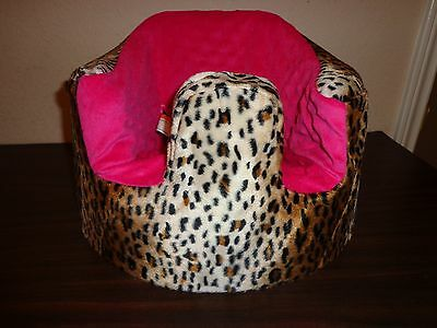 New Bumbo Floor Seat COVER - Leopard,Cheetah w/Pink Seat -Safety Strap Ready
