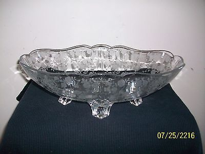 "Fine Cambridge Glass Rose Point Pattern 12 1/2"" Inch Footed Oval Fruit Bowl"