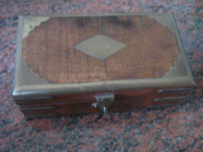 Vintage Carved Wooden  Brass Inlaid Chunky Solid  Box