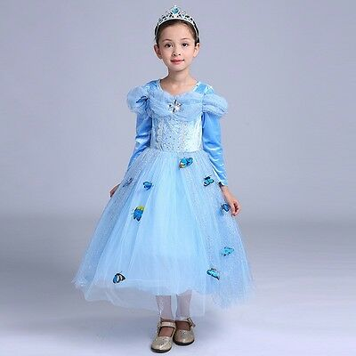 Cinderella Princess#2 Butterfly Party Dress Kids Costume Dress for Girls Size 2