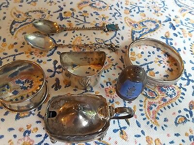 mixed lot of antique sterling silver