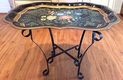 Large Vintage Hand Painted Floral Black Tole Tray Table Signed By Artist 1951