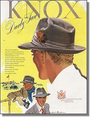 1948 Knox Darby Tan Hat - Day at the Track Print-Ad