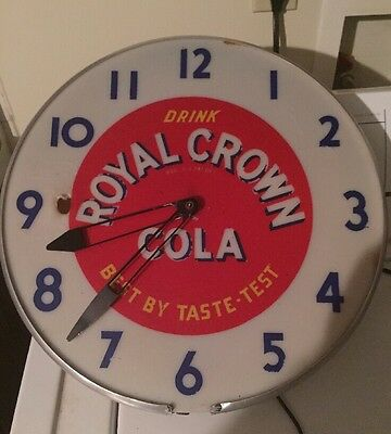Vtg ROYAL CROWN COLA LIghted Wall Clock by The Ohio Advertising Display Co