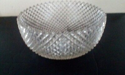 """Crystal Miss America Depression Glass 8"""" Bowl Curved In At The Top"""