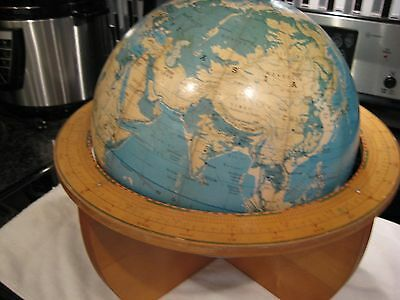 "1963 Cartocraft  12"" World Globe Denoyer-Geppert Co Chicago Wood Base Rare!!!!!!"